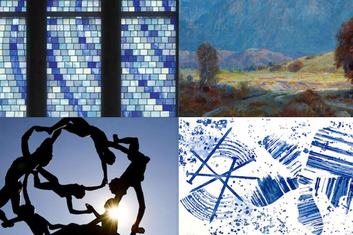 Details of stained glass window, oil painting, outdoor sculpture, and graphic print from the collection
