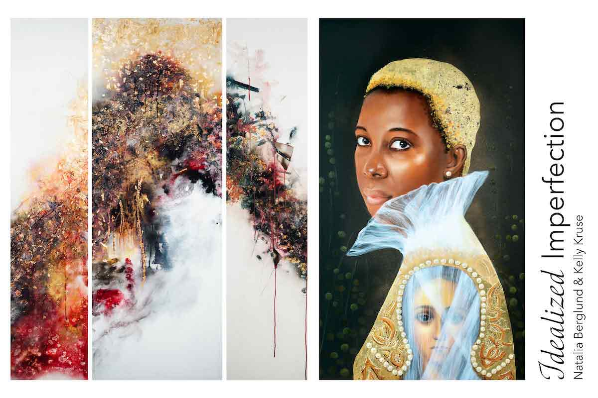 triptych of abstract paintings and painting of women with gold hair and regal clothing