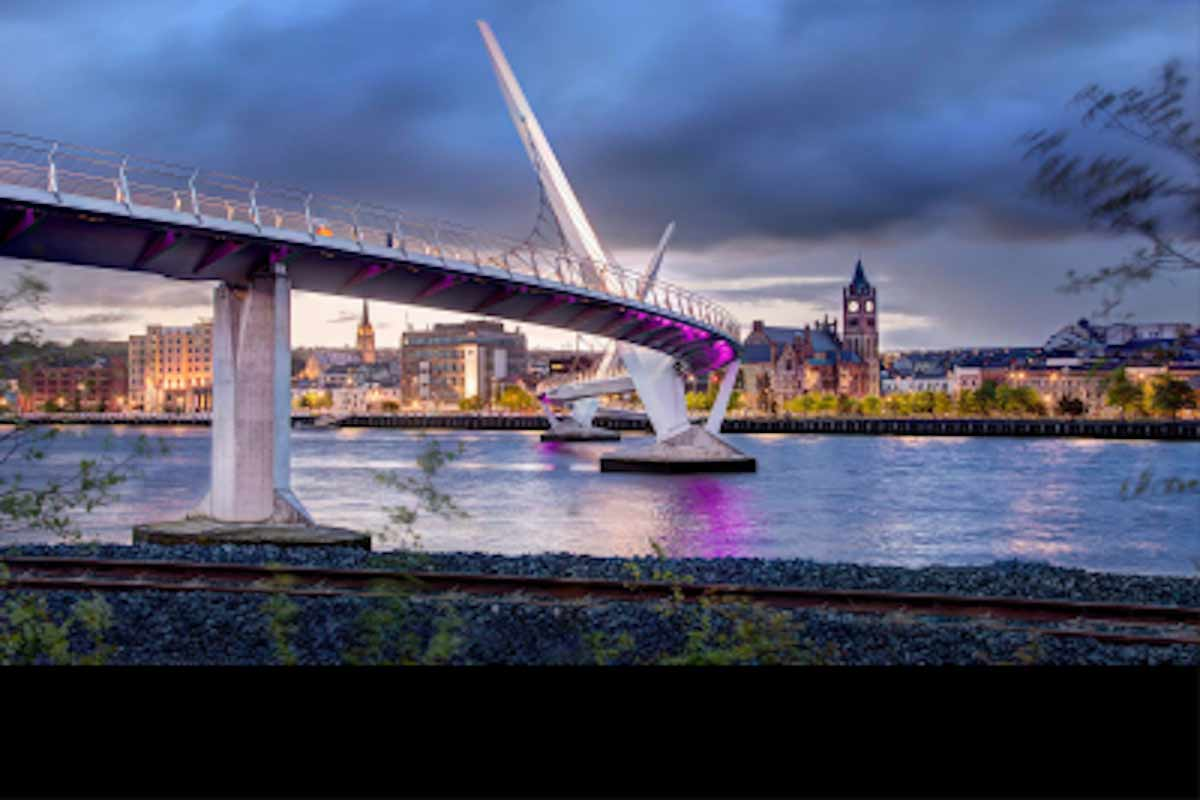 Photo of the Peace Bridge in Derry, Northern Ireland at dusk.