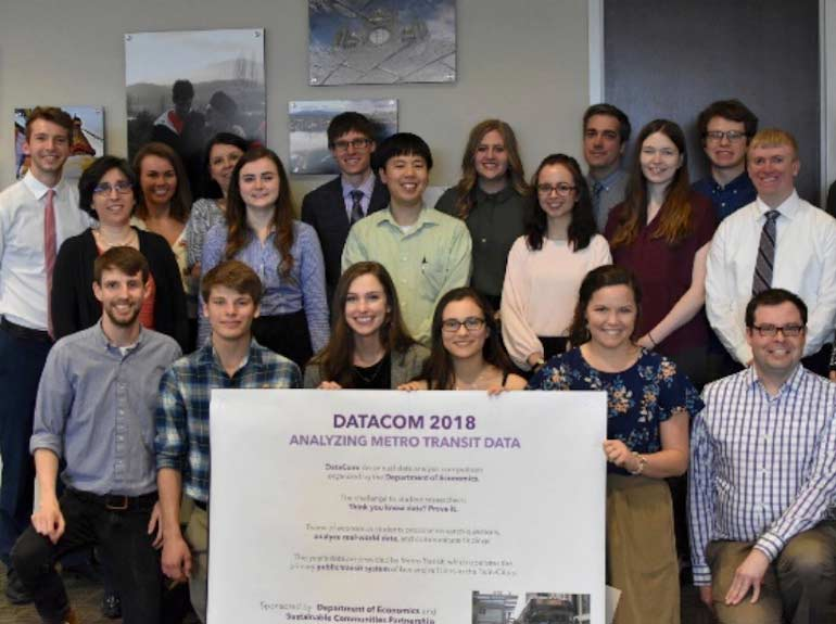 Group photo of students and faculty that participated in 2018 Economics Department Data Competition.