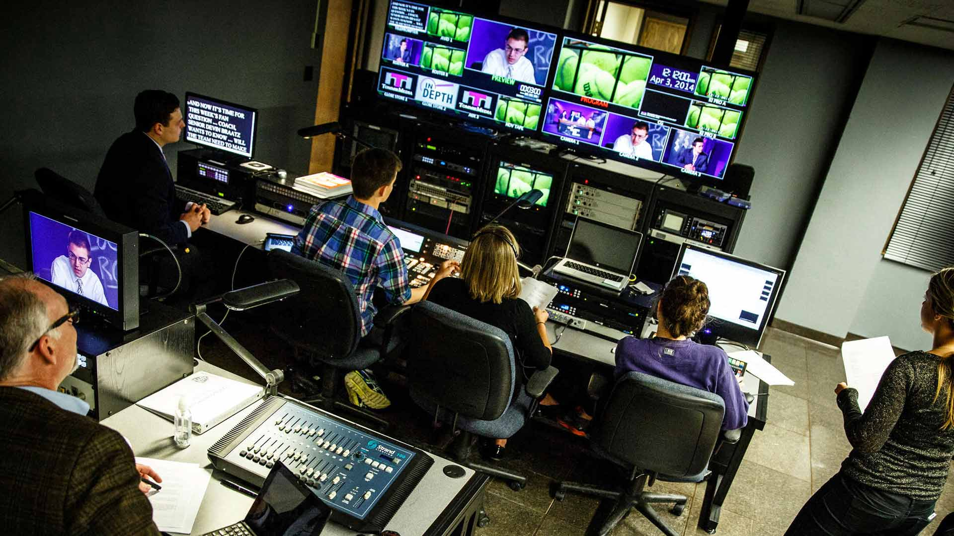 "Students work in the control room during production of the TommieMedia program ""The Locker Room"" in the TV studio in O'Shaughnessy Educational Center."