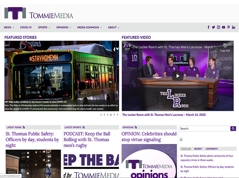 Screen capture of the homepage of the Tommie Media website.