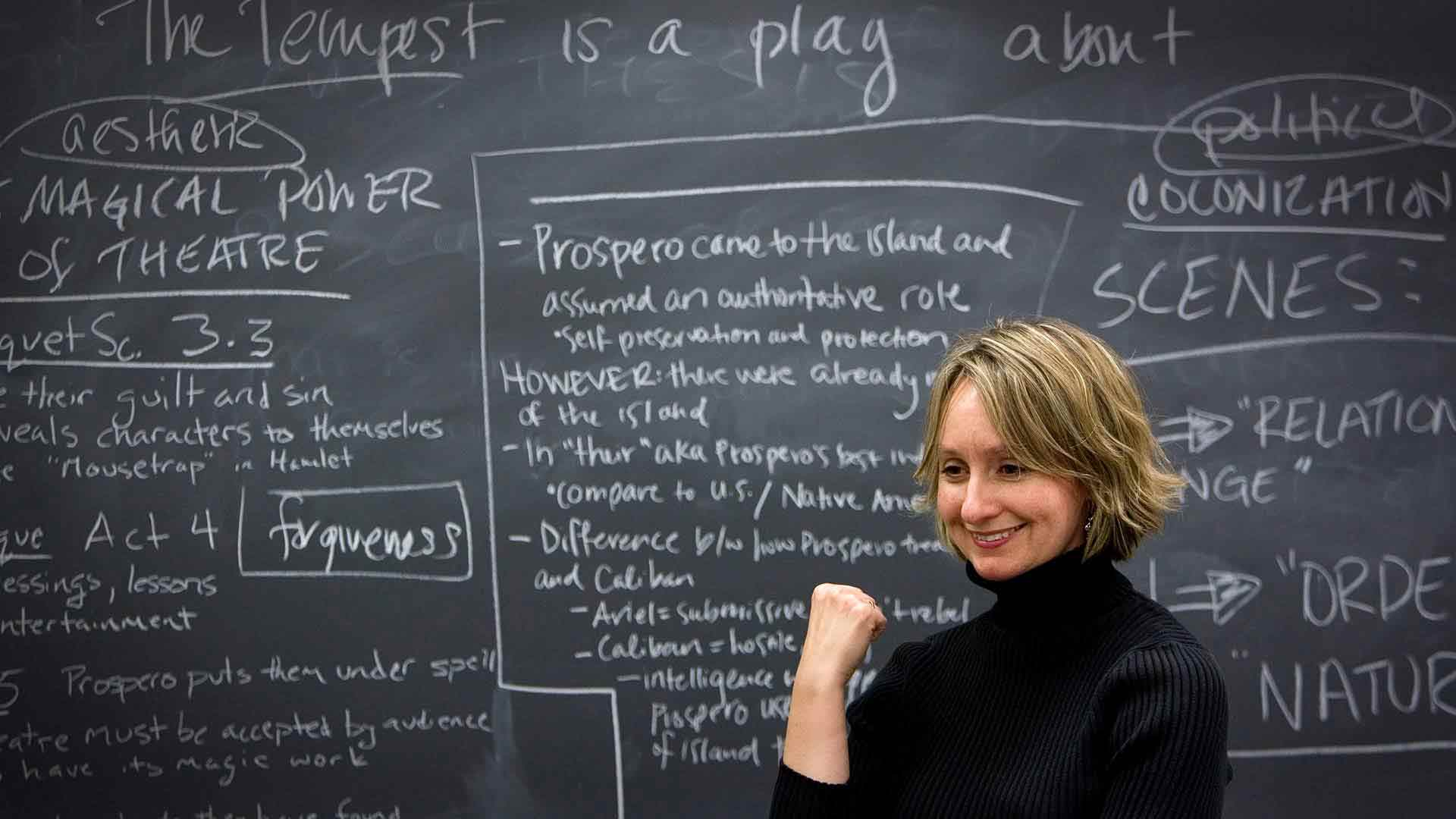 Dr. Amy Muse in front a chalkboard teaches a class on The Tempest