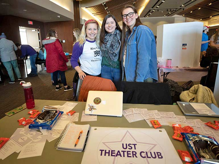 Students pose for a photo for the Theater Club at the Spring Activities Fair.
