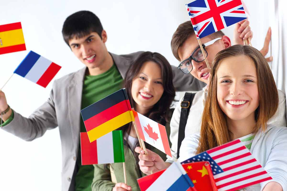 student group with international flags