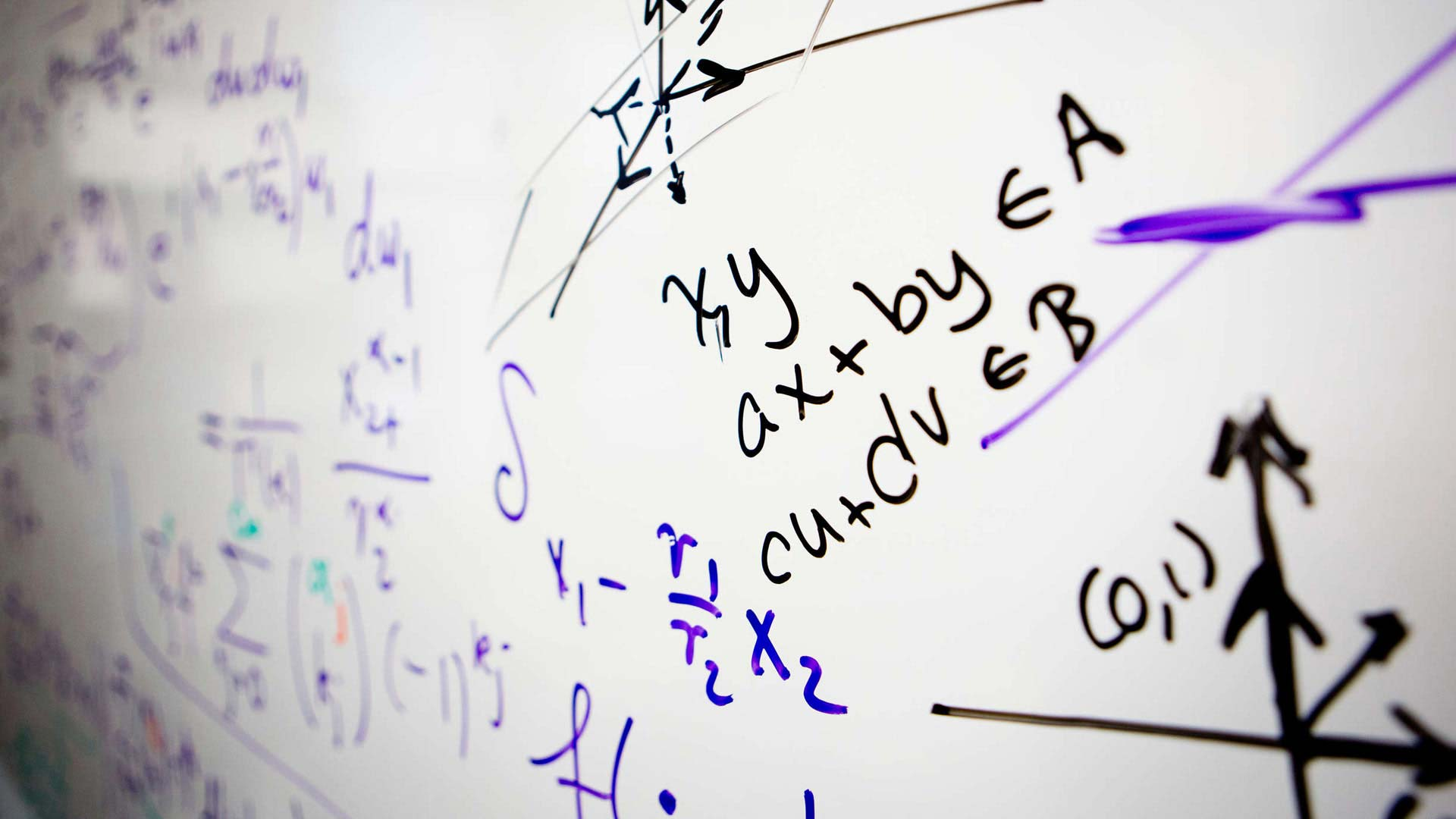 Mathematical equations on a whiteboard.
