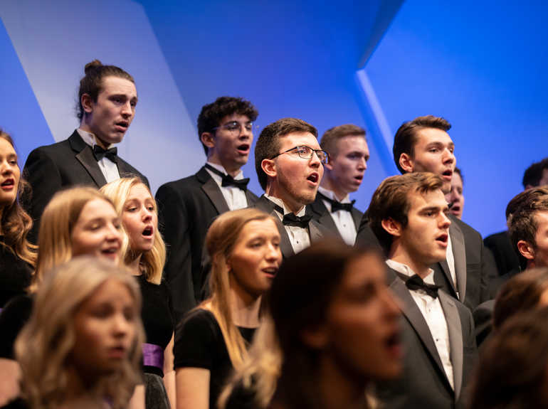 The undergraduate choral ensemble performs at the annual Christmas Concert.