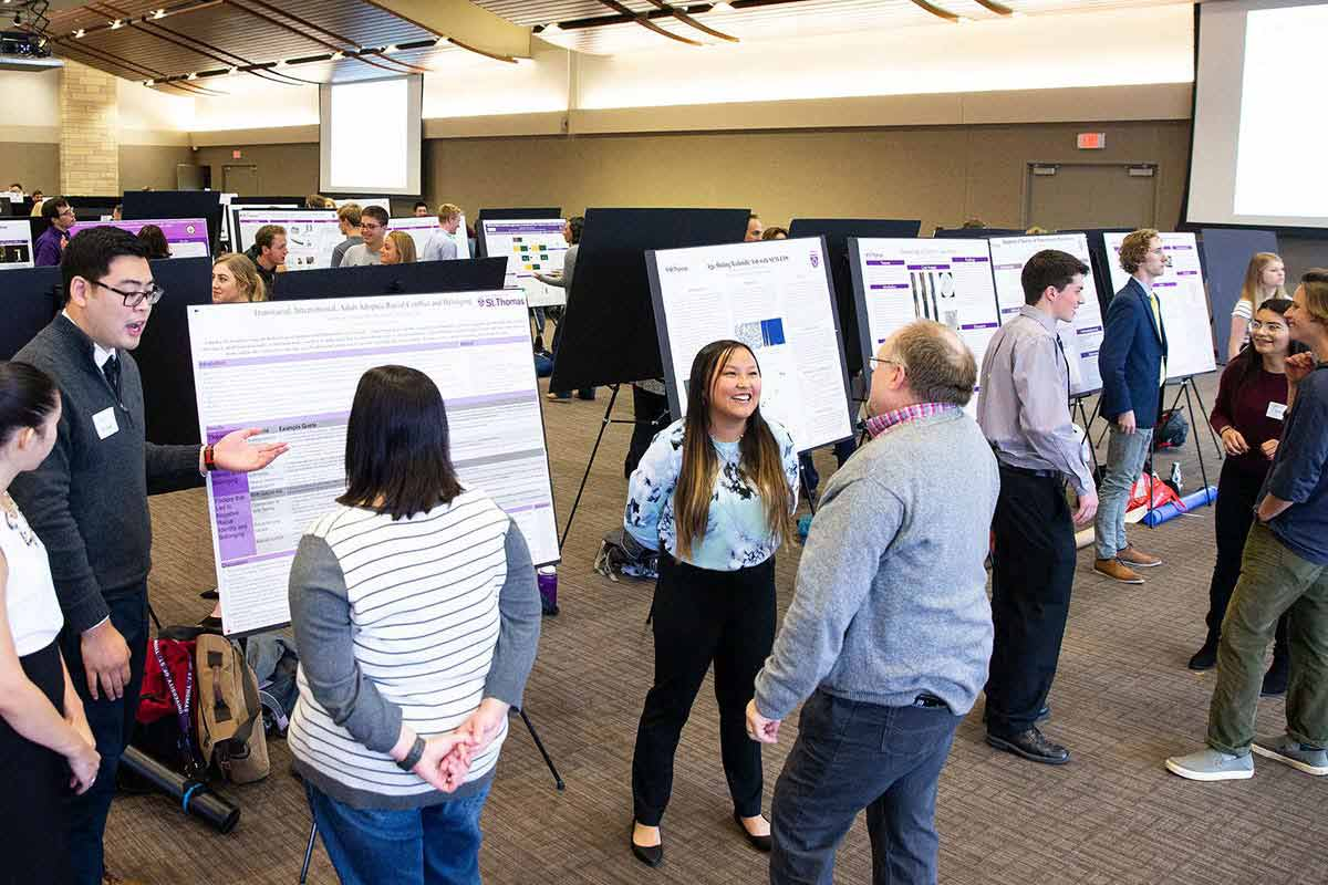 Students present their research findings during the Undergraduate Research Poster Session.