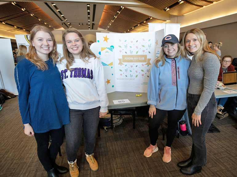 The Psychology Club poses for a photo during the Spring Activities Fair.