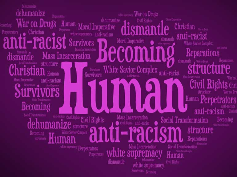 Anti-Racism word cloud with the word Human in the center.