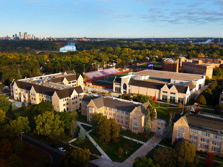 Aerial view of the St. Paul campus with the Minneapolis skyline